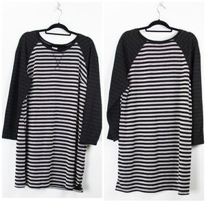 Merona Black White Striped Pullover Dress